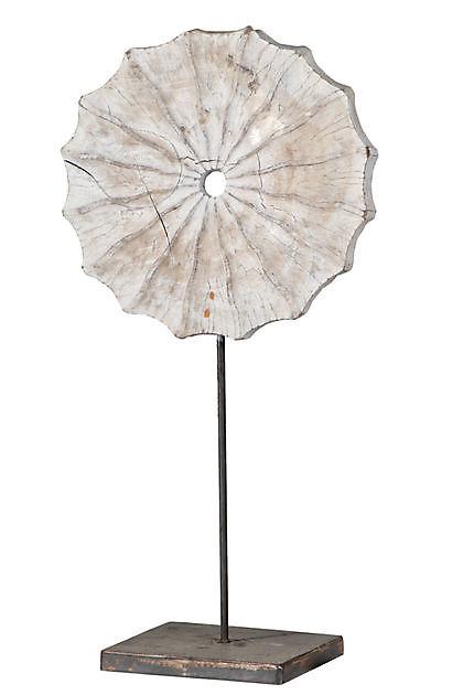 Teakhout ornament op voet 63 cm White - Kiëta Koi Veendam